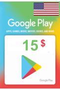 Google Play $15 (USD) (USA/North America) Gift Card