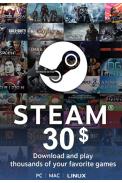 Steam Wallet - Gift Card $30 (USD)