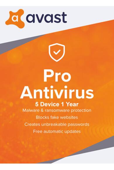 Avast Pro Antivirus - 5 Device 1 Year