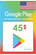 Google Play $45 (USD) (USA/North America) Gift Card